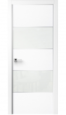 Titanium Interior Door Bianco Noble / White Glass