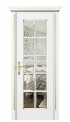 Parma Interior Door Italian Enamel White Beveled Glass