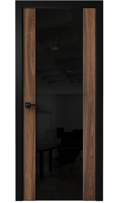 Vento Interior Door American Walnut/ Black Triplex Glass