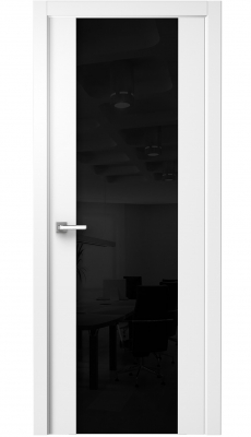 Vento Interior Door Polar White/ Black Triplex Glass