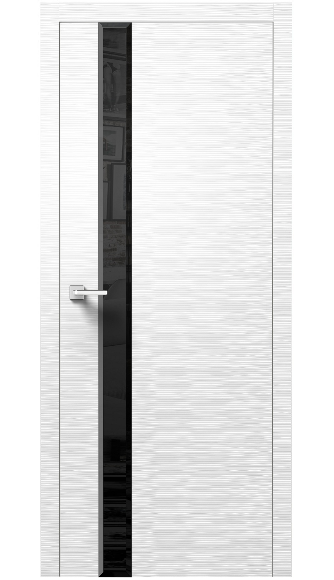 Image Dianto Interior Door 3D White / Black Beveled Glass 0