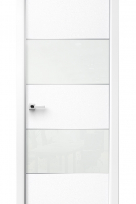 Image Titanium Interior Door Bianco Noble / White Glass 1