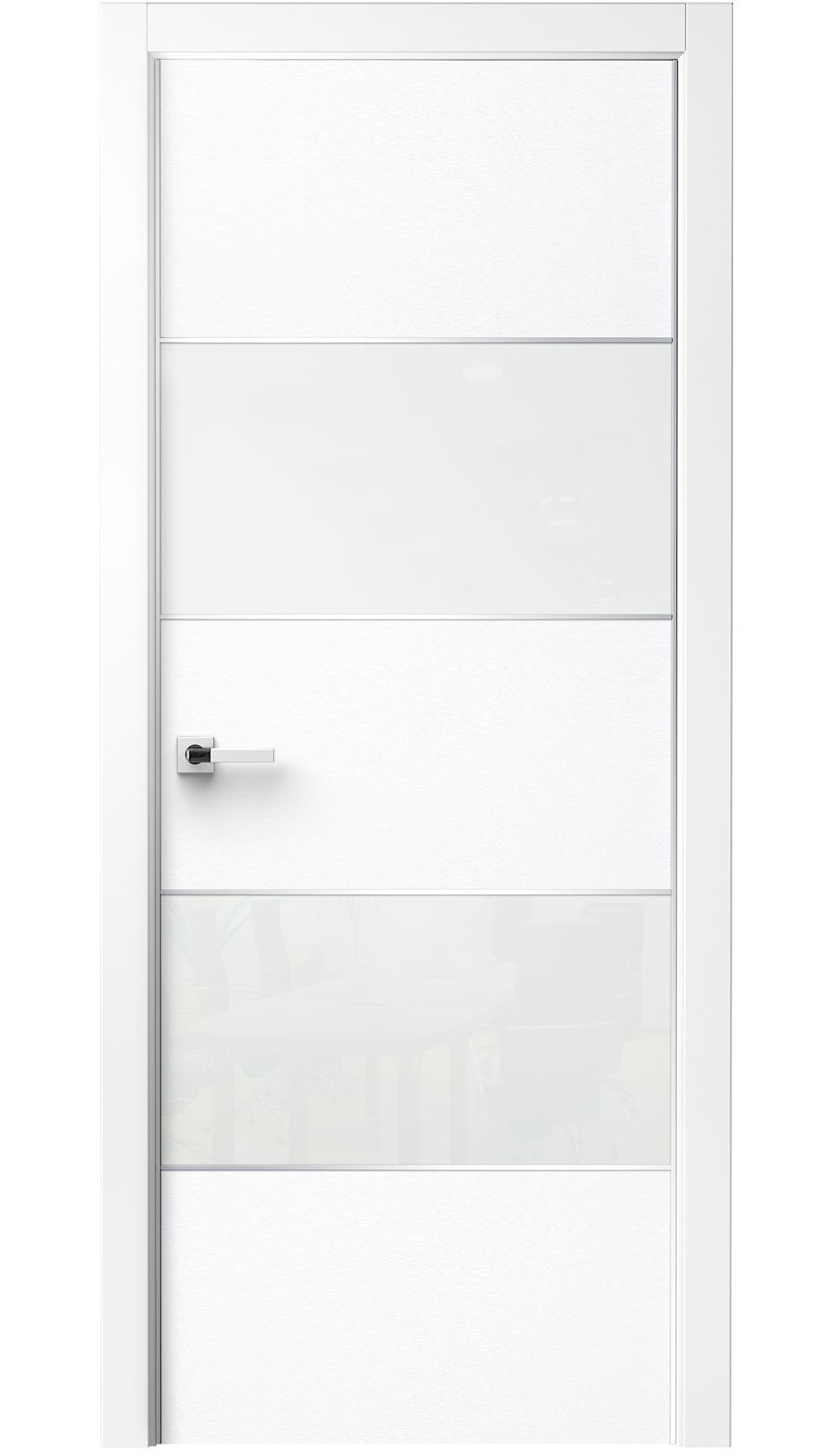 Image Titanium Interior Door Bianco Noble / White Glass 0