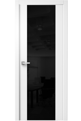 Image Vento Interior Door Polar White/ Black Triplex Glass 1
