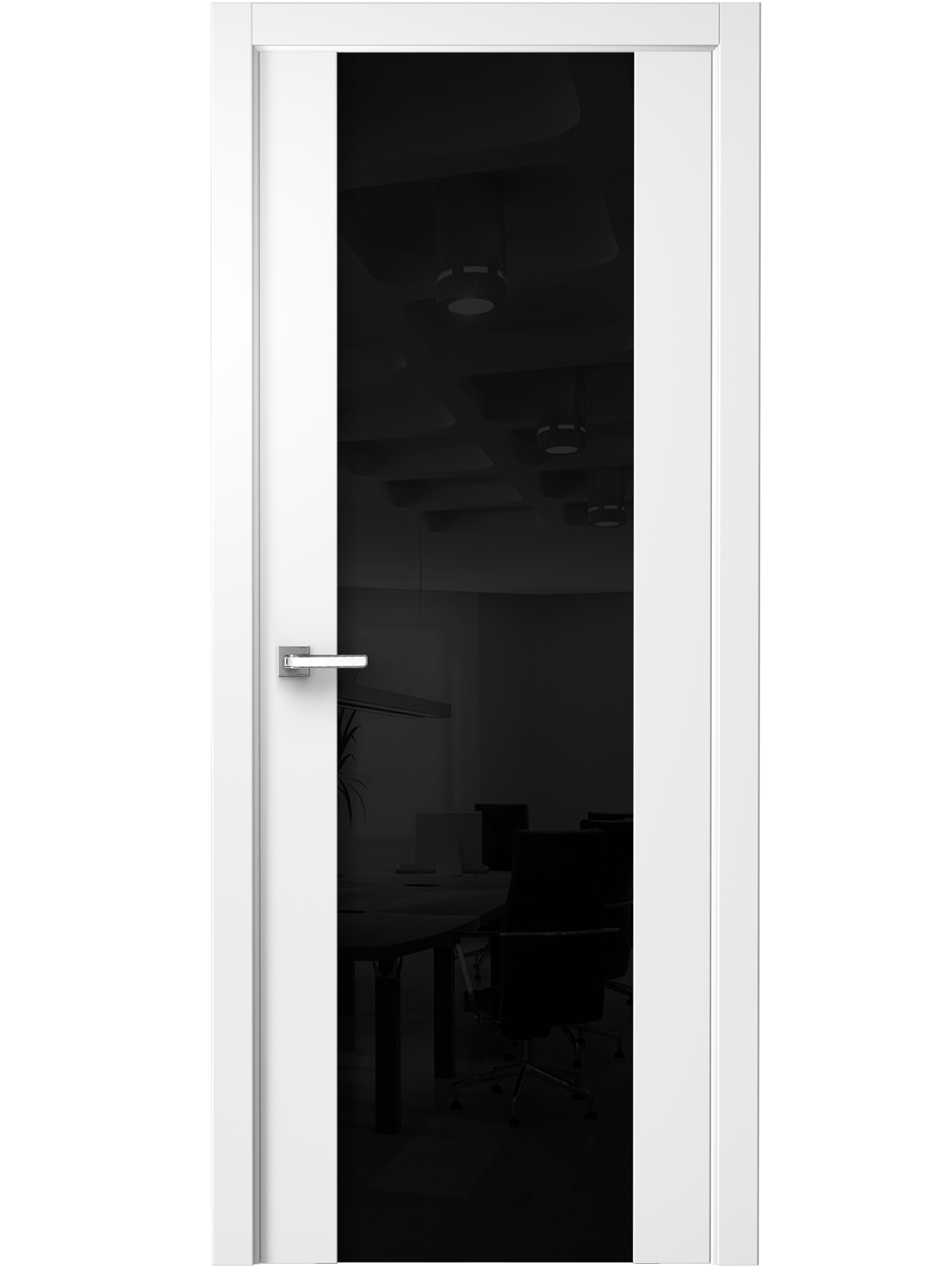 Image Vento Interior Door Polar White/ Black Triplex Glass 0