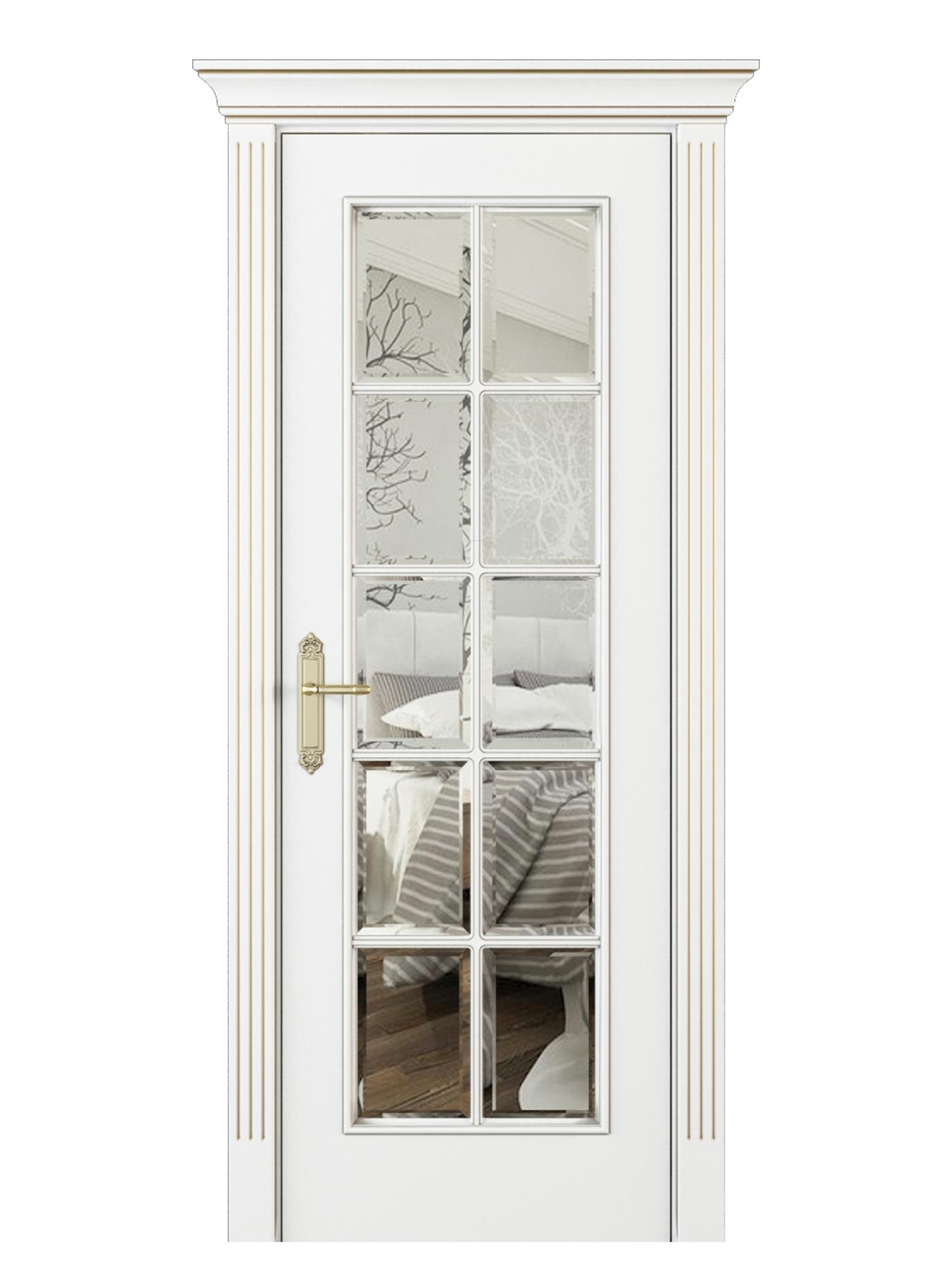 Image Parma Interior Door Italian Enamel White Beveled Glass 0