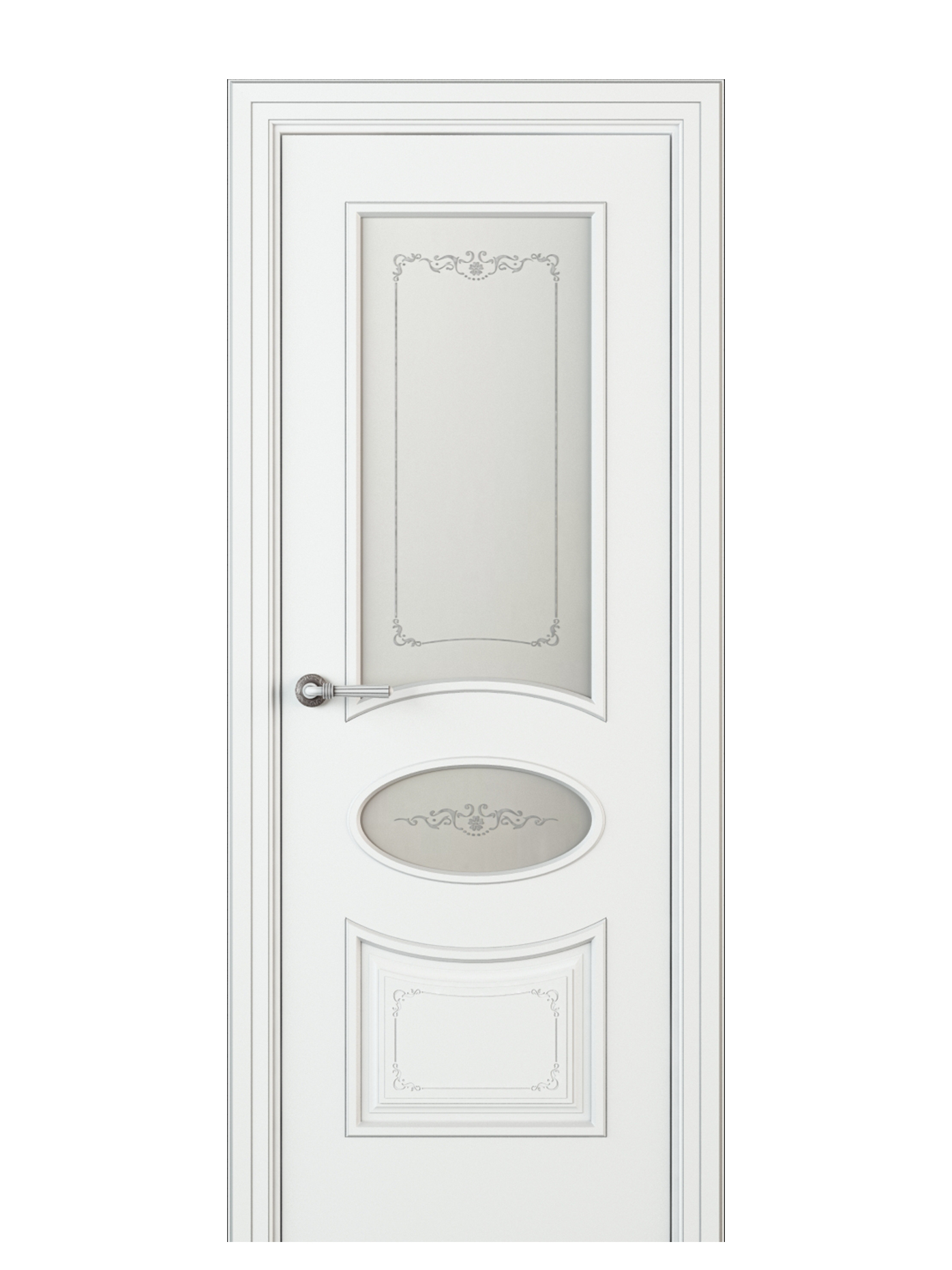 Image Amelia Vetro Duo Interior Door Italian Enamel White 0