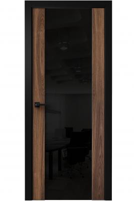 Image Vento Interior Door American Walnut/ Black Triplex Glass 1