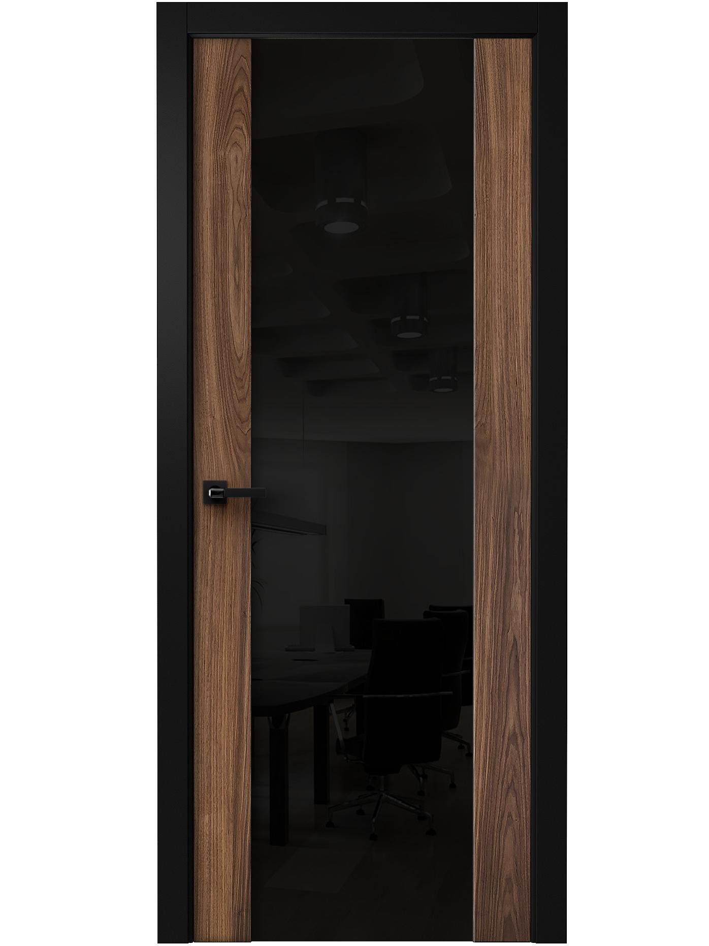 Image Vento Interior Door American Walnut/ Black Triplex Glass 0