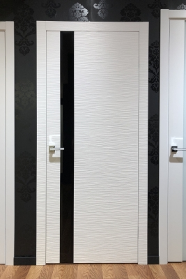 Image Dianto Interior Door 3D White / Black Beveled Glass 2