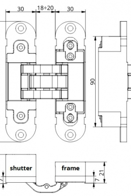 Image Italian Concealed Hinges (3-way adjustable) 2