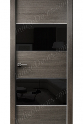 Image Titanium Interior Door Gray Chestnut / Black Glass 1