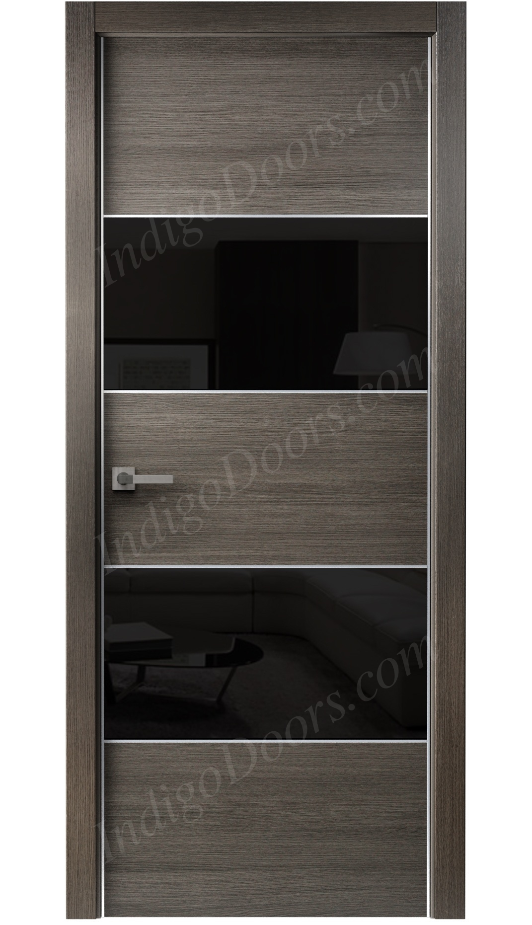 Image Titanium Interior Door Gray Chestnut / Black Glass 0