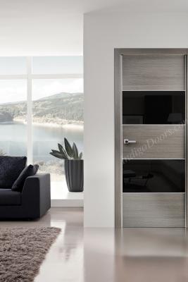 Image Titanium Interior Door Gray Chestnut / Black Glass 3